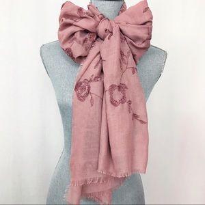 Landry Pink Floral Embroidered Frayed Hem Scrarf